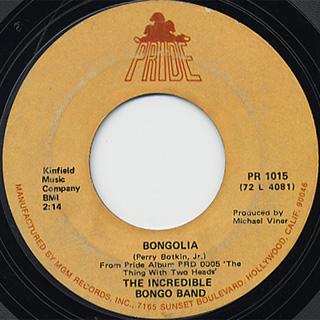 Incredible Bongo Band / Bongolia c/w Bongo Rock
