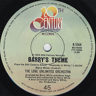 Love Unlimited Orchestra / Rhapsody In White c/w Barry's Theme back