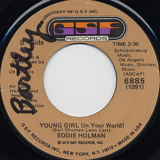 Eddie Holman / I'll Call You Joy c/w Young Girl front