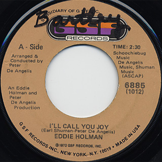 Eddie Holman / I'll Call You Joy c/w Young Girl back