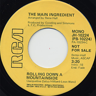 Main Ingredient / Rolling Down A Mountainside c/w (Mono) back