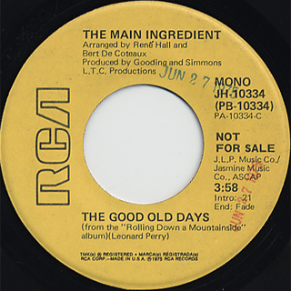 Main Ingredient / The Good Old Days c/w (Mono) back