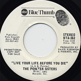 Pointer Sisters / Live Your Life Before You Die c/w (Mono)
