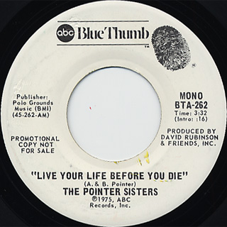 Pointer Sisters / Live Your Life Before You Die c/w (Mono) back