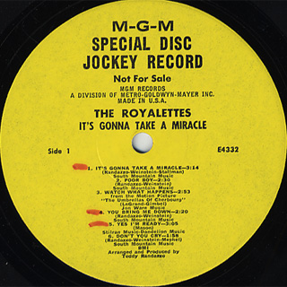 Royalettes / It's Gonna Take A Miracle label