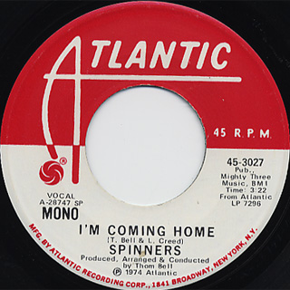 Spinners / I'm Coming Home c/w (Mono) back