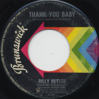 Billy Butler / Thank You Baby c/w Burning Touch Of Love