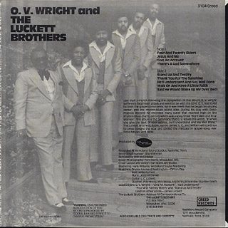 O.V.Wright & The Luckett Bros. / Four & Twenty Elders back