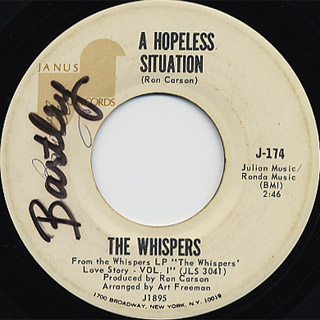 Whispers / Can't Help But Love You c/w A Hopeless Situation back
