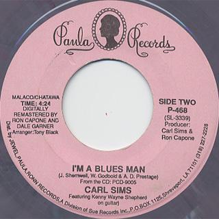 Carl Sims / Shot To The Curb c/w I'm A Blues Man back