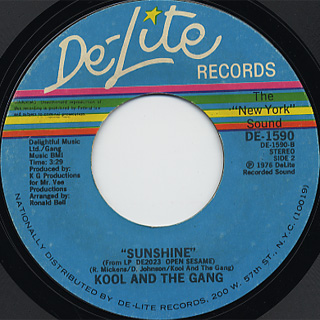 Kool And The Gang / Super Band c/w Sunshine back