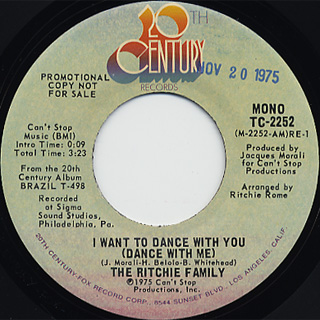Ritchie Family / I Want To Dance With You(Stereo) c/w (Mono) back