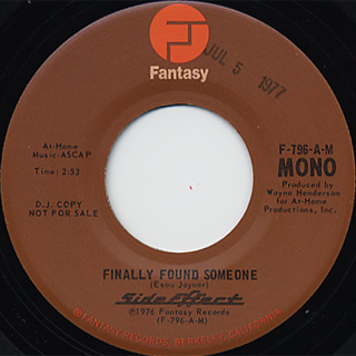 Side Effect / Finally Found Someone(Stereo) c/w (Mono) back