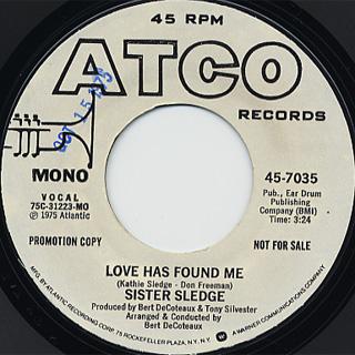 Sister Sledge / Love Has Found Me(Stereo) c/w (Mono) back