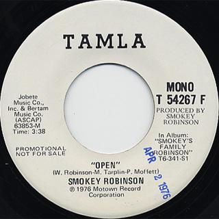 Smokey Robinson / Open(Stereo) c/w (Mono) back