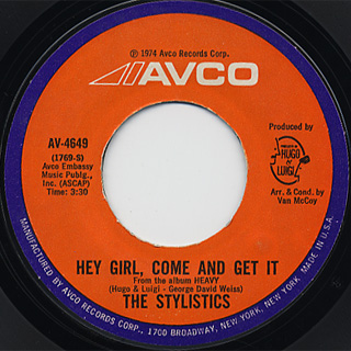 Stylistics / Hey Girl, Come And Get It c/w Star On A TV Show
