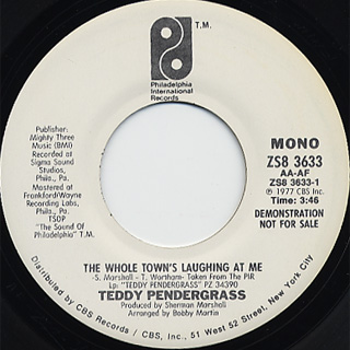 Teddy Pendergrass / The Whole Town's Laughing At Me(Stereo) c/w (Mono) back