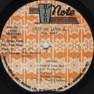 Bob Andy / Lots Of Love & I label