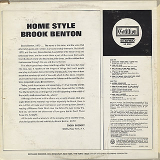Brook Benton / Home Style back