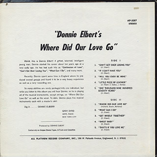 Donnie Elbert / Where Did Our Love Go back