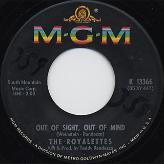 Royalettes / It's Gonna Take A Miracle c/w Out Of Sight, Out Of Mind back