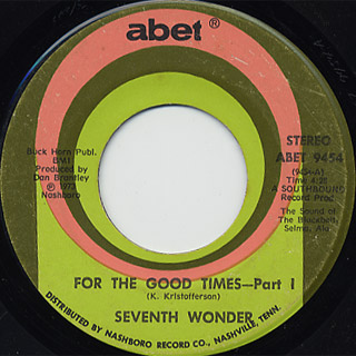 Seventh Wonder / For The Good Times (Part 1) c/w (Part 2) front