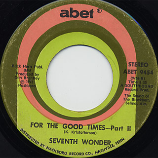 Seventh Wonder / For The Good Times (Part 1) c/w (Part 2) back