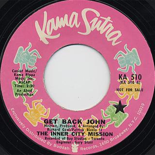 Inner City MIssion / Get Back John c/w Got So Many Song
