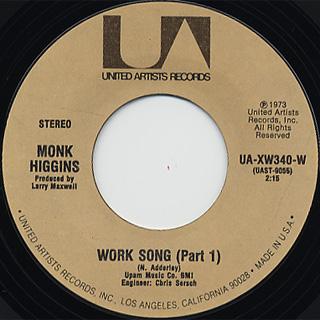 Monk Higgins / Work Song (Part 1) c/w (Part 2)