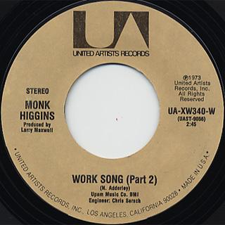 Monk Higgins / Work Song (Part 1) c/w (Part 2) back