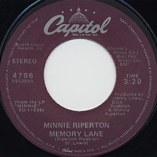 Minnie Riperton / Memory Lane c/w I'm A Woman