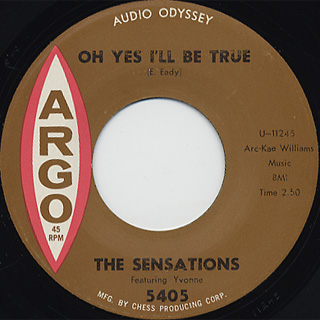 Sensations / Let Me In c/w Oh Yes I'll Be True back