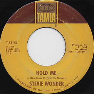 Stevie Wonder / Hold Me c/w I Was Made To Lover Her back