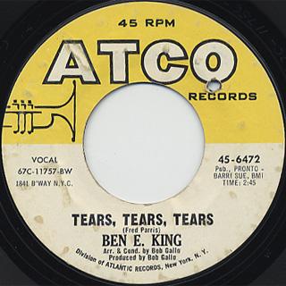 Ben E. King / A Man Without A Dream c/w Tears, Tears, Tears back