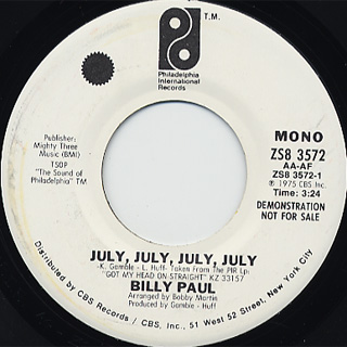 Billy Paul / July, July, July,July back