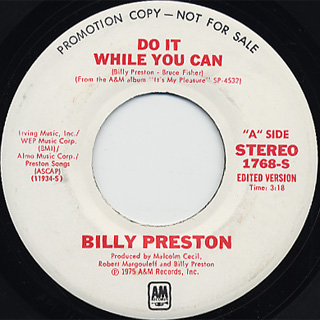 Billy Preston / Do It While You Can c/w Song Of Joy