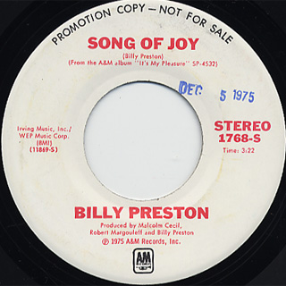 Billy Preston / Do It While You Can c/w Song Of Joy back