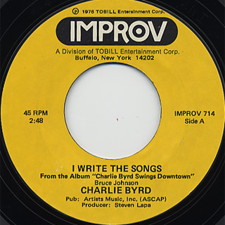 Charlie Byrd / I Write The Songs c/w Feelings front