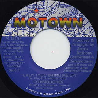 Commodores / Lady c/w Gettin' It front