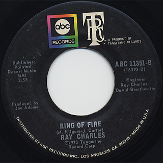 Ray Charles / Ring Of Fire c/w I Can't Make It Thru The Days back