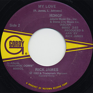 Rick James / Hard To Get c/w My Love back