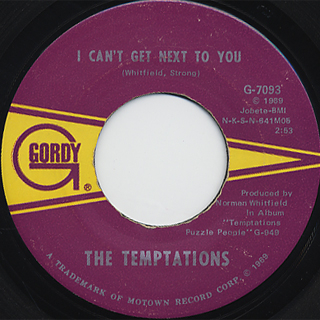 Temptations / I Can't Get Next To You c/w Running Away back