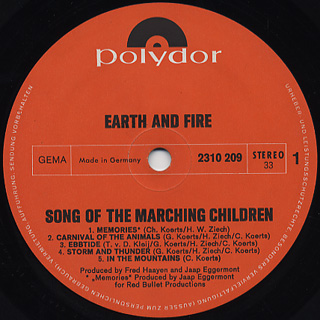 Earth And Fire / Song Of The Marching Children label