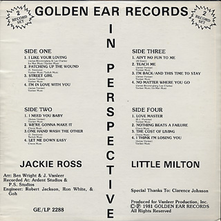 Jackie Ross and Little Milton / In Perspective back