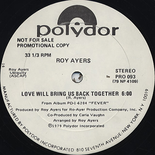 Roy Ayers / Love Will Bring Us Back Together back