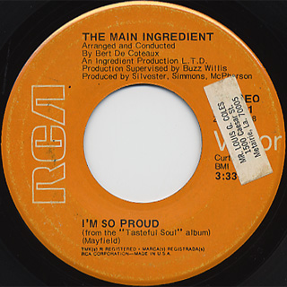 Main Ingredient / Brotherly Love c/w I'm So Proud back