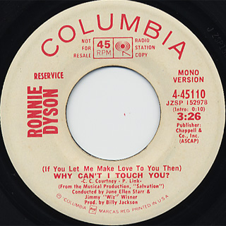 Ronnie Dyson / Why Can't I Touch You? c/w (Mono) back