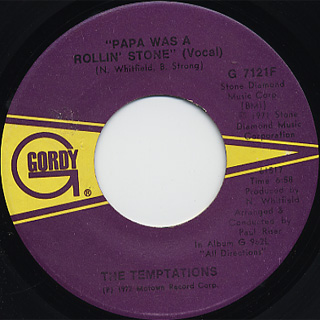 Temptations / Papa Was A Rollin' Stone c/w (Inst.) back