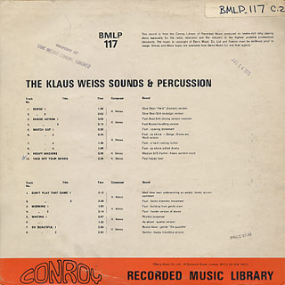 Klaus Weiss / The Klaus Weiss Sounds And Percussion back