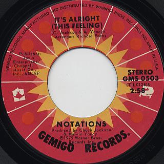 Notations / It's Alright c/w Since You've Been Gone front